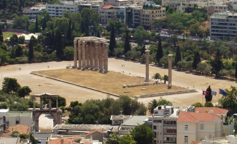 Athens: Temple of Olympian Zeus III - a view from Acropoli